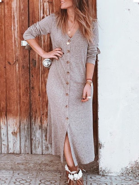 Plus Size Casual Solid V Neck Long Sleeve Buttoned Dresses