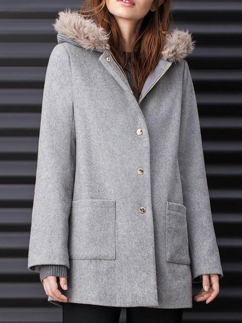 Faux Fur Pockets Casual Hoodie Outerwear