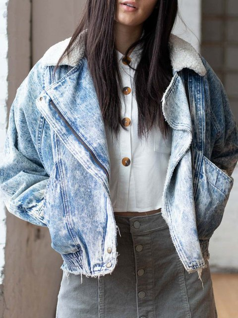 Blue Paneled Casual Outerwear