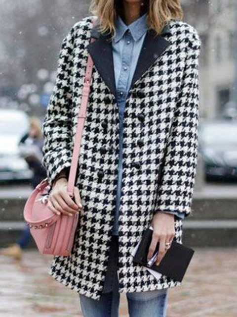 Black Casual Houndstooth Lapel Long Sleeve Outerwear