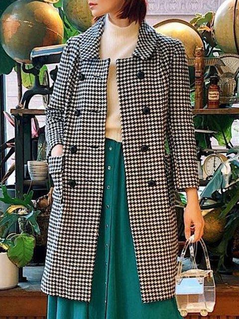 Black Paneled Long Sleeve Shawl Collar Wool Blend Outerwear