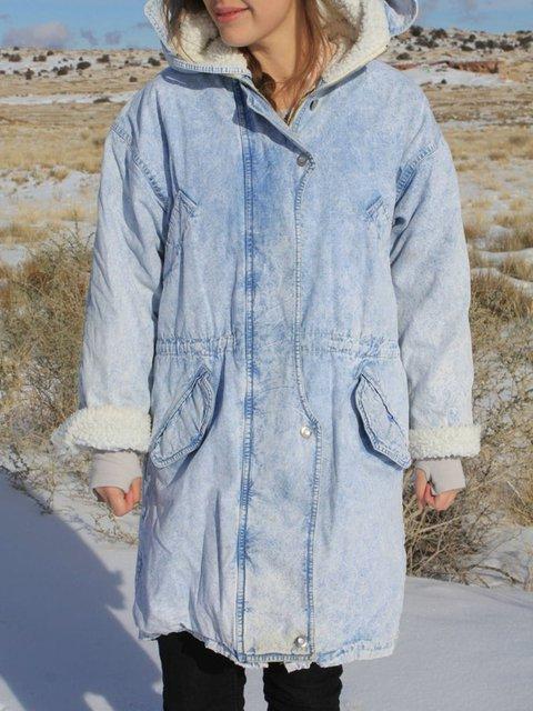 Light Blue Casual Plain Outerwear