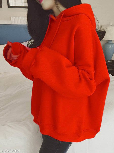 Plain  Long Sleeve Hoodies