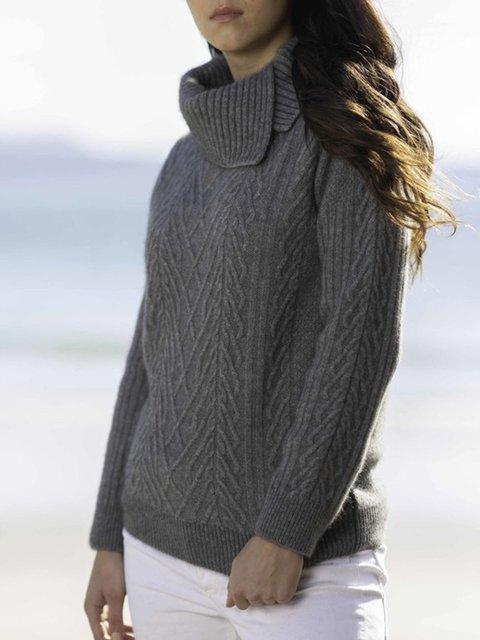 Gray Wool Blend Casual Turtleneck Sweater