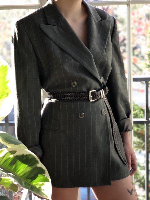 Deep Gray Paneled Casual Outerwear