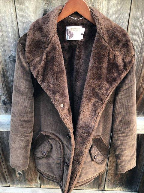 Brown Long Sleeve Plain Paneled Outerwear