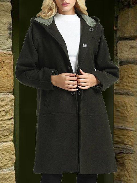Deep Gray Plain Hoodie Casual Paneled Outerwear
