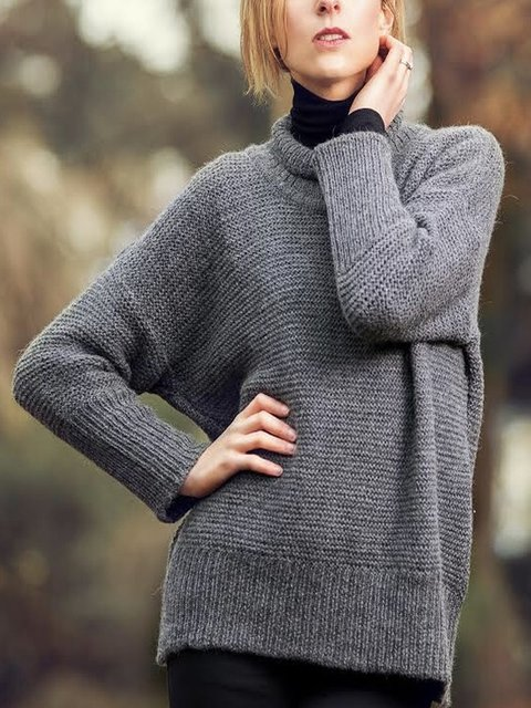 Paneled Plain Long Sleeve Sweater