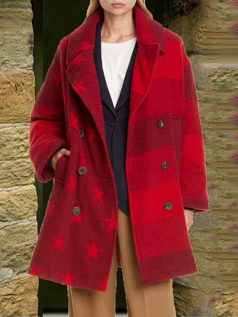 Red Wool Blend Long Sleeve Outerwear