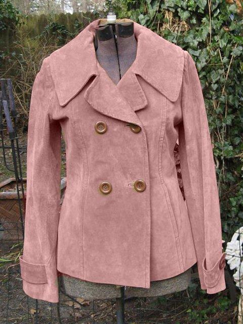 Cotton-Blend Paneled Plain Long Sleeve Outerwear