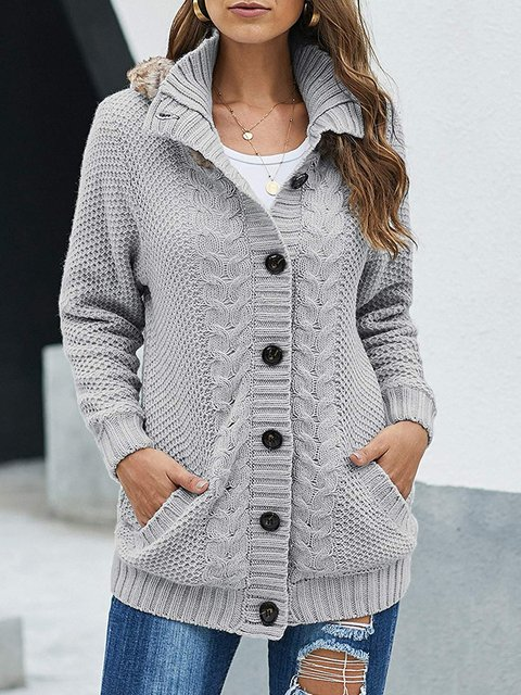 Long Sleeve Solid Buttoned Vintage Sweater