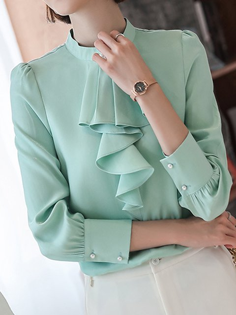 Solid Work Blouse Plus Size Stand Collar Long Sleeve Tops