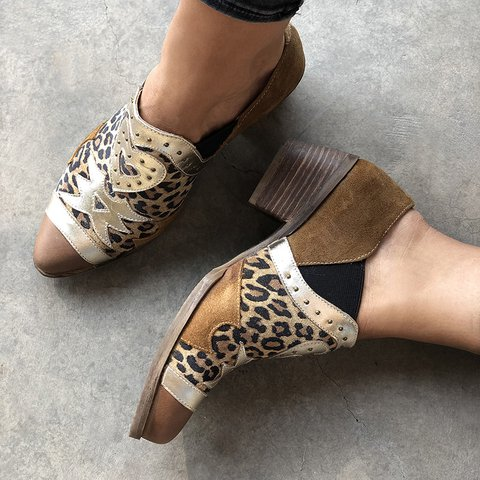 All Season Chunky Heel Loafers Rivet Slip-On Shoes