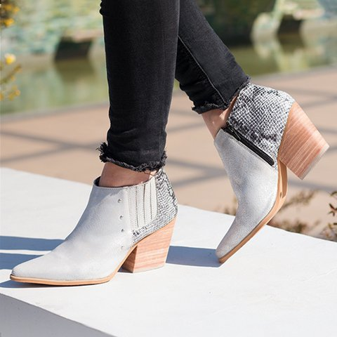 Rivet Chunky Heel Ankle Boots All Season Pointed Toe Boots