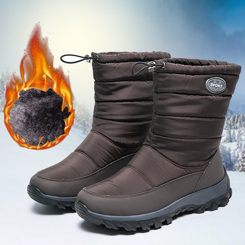 Womens Waterproof Mid Calf Drawstring Snow Boots Winter Shoes