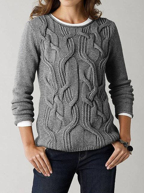 Long Sleeve Solid Knitted Crew Neck Sweater