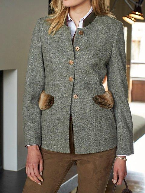 Women Stand Collar Vintage Pockets Jackets