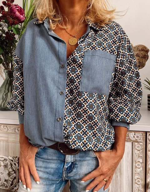 Cotton-Blend Shirt Collar Casual Shirts & Tops