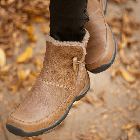 Button Snow Boots Fur Lined Flat Heel Winter Boots