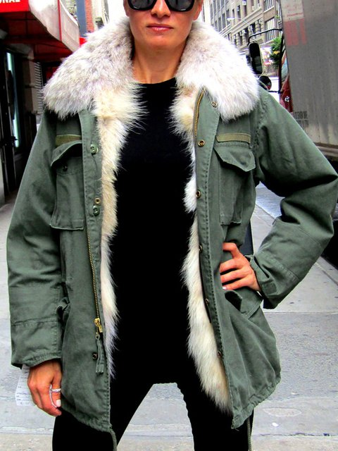 Army Green Plain Long Sleeve Outerwear