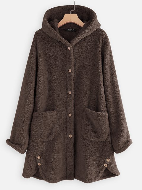 Long Sleeve Cotton-Blend Casual Solid Outerwear