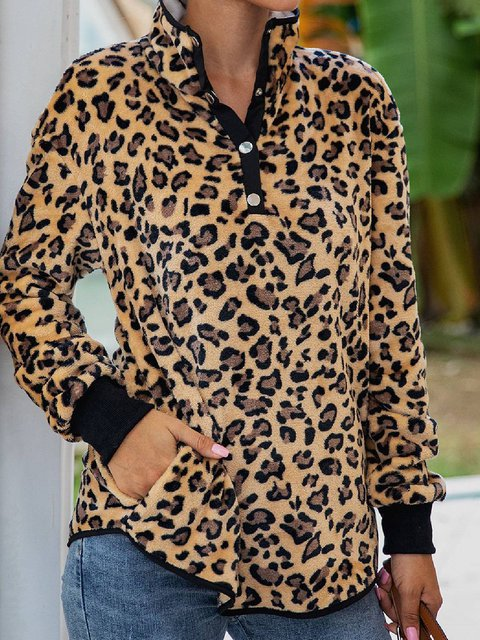 Long Sleeve Casual Cotton-Blend Leopard Print Shirts & Tops