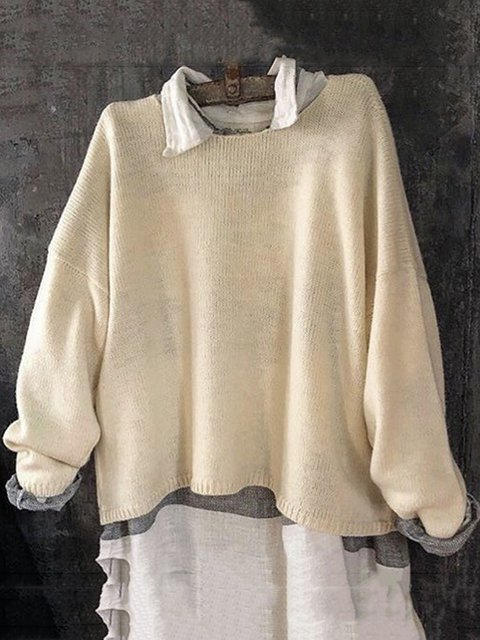 Women Round Neck Solid Casual Sweaters