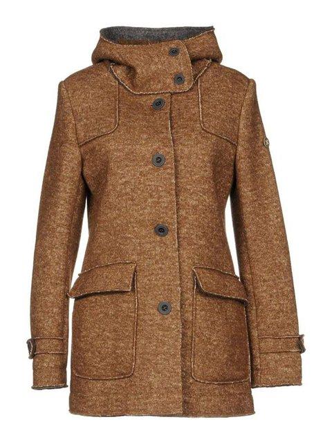 Women Pockets Buttoned Hoodie Coats