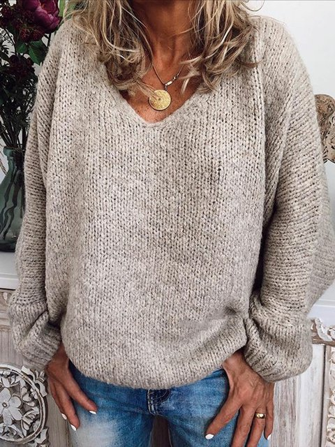 Women V-Neck Solid Casual Loose Sweater