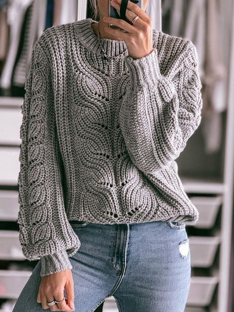Women Round Neck Crocheted Casual Sweaters