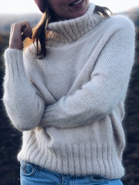 Women Turtleneck Solid Casual Winter Sweaters