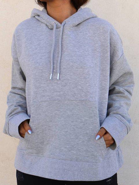 Women Pocket Drawstring Hoodie Sweatshirt