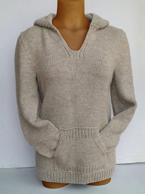 Women V-Neck Pocket Hoodie Sweaters