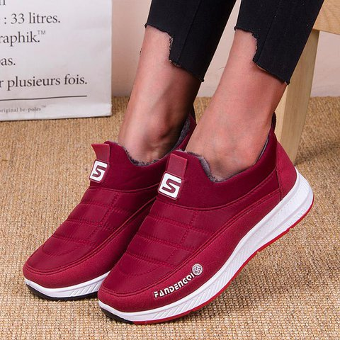Sneakers Suede Plus Velvet Cotton Flat Heel Ankle Slip-on Warm