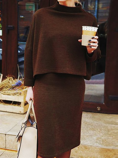 Casual Shift Knitted Long Sleeve Suits