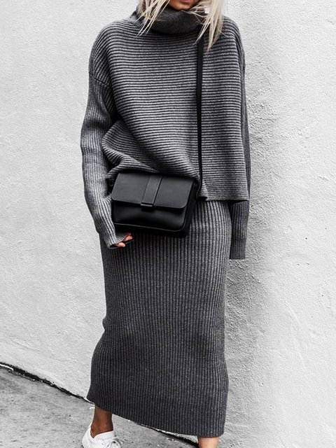 Knitted Long Sleeve Turtleneck Holiday Suits