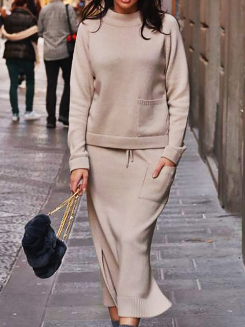 Knitted Crew Neck Long Sleeve Suits