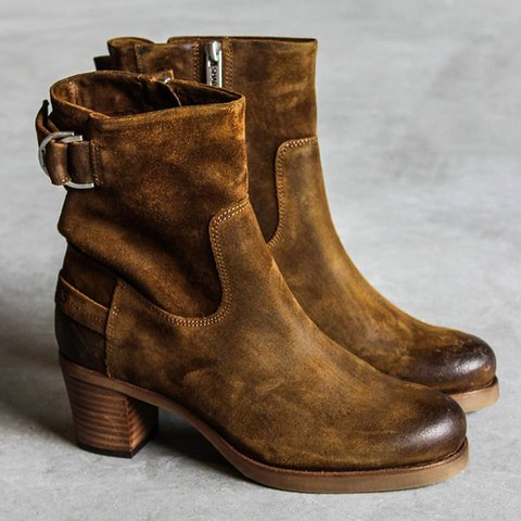 Artificial Suede All Season Buckle Strap Heeled Ankle Boots
