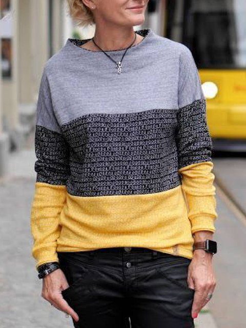 Multicolor Color-Block Casual Long Sleeve Sweatshirt