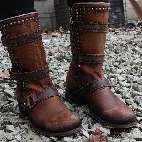 Women Zipper PU Round Toe Chunky Heel Rivet Spring Boots