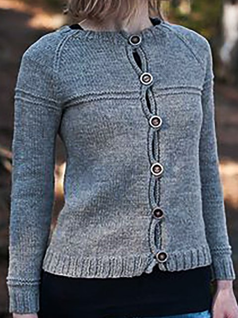 Long Sleeve Shift Knitted Knitted Outerwear