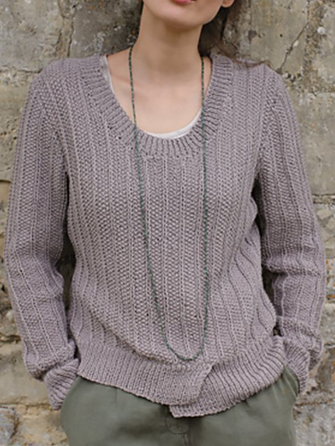 Knitted Shift Plain Long Sleeve Sweater