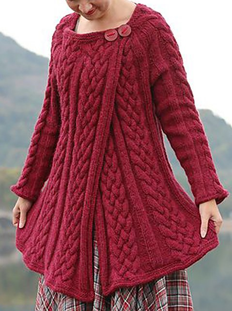 Crew Neck Long Sleeve Knitted Outerwear