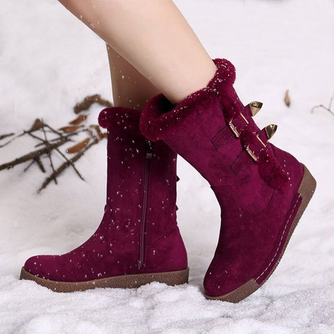 Buckle Winter Daily Faux Suede Boots