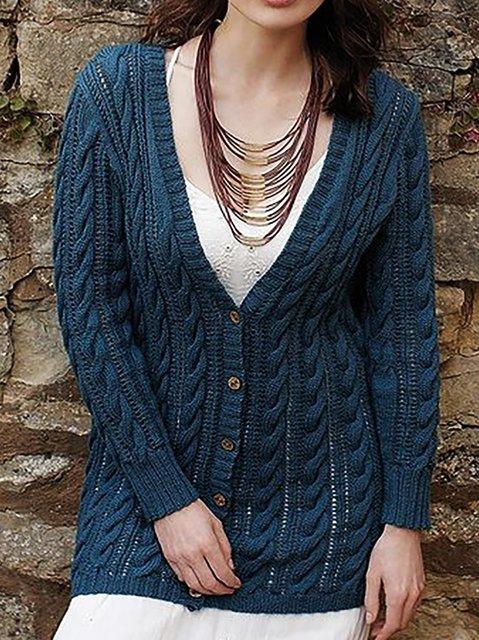 V Neck Plain Knitted Long Sleeve Outerwear