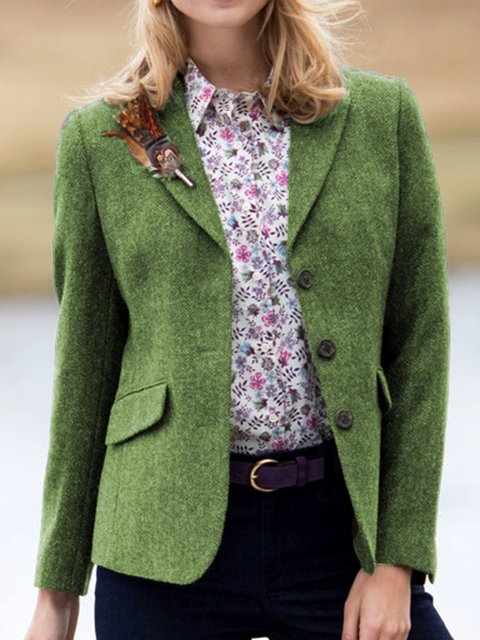 Lapel Pockets Long Sleeve Vintage Jackets