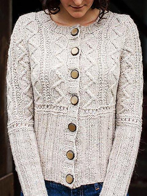 Plain Long Sleeve Basic Knitted Sweater