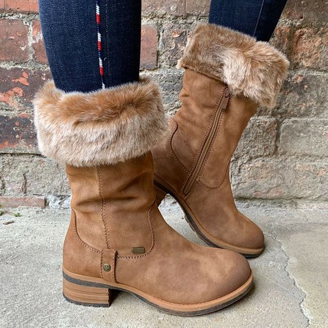 Suede Mid-Calf Snow Boots Women Warm Work Daily Casual Boots