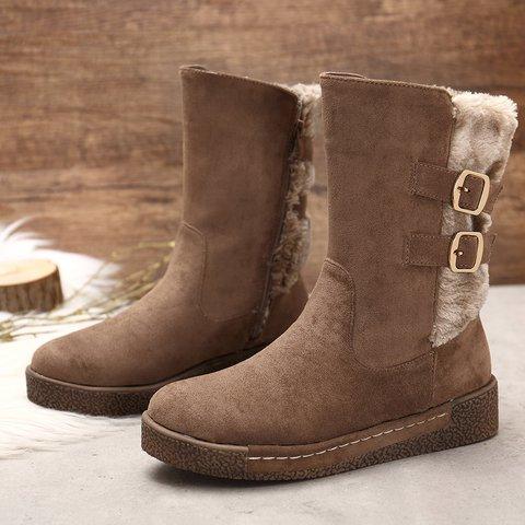Buckle Winter Flat Heel Casual Boots