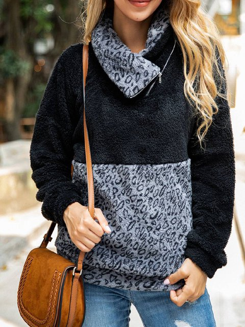 Leopard Print Cowl Neck Casual Shirts & Tops